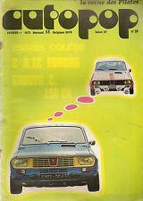 AUTOPOP 19 1973 ESSAI R12 GORDINI Gr2 150CH SALON DE VOITURE DE COURSE AMI SUPER