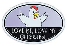 Oval Auto Magnet - Liebe Me Mein Hühner - Huhn Geliebten - Stoßstangen Aufkleber