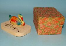 SWAN CELLULOID/WOOD THERMOMETER ORIGINAL BOX VISCOLOID USA