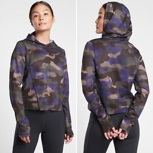 Athleta Pinnacle Hoodie SMALL Mantra Print Blue Camo Semi-Fitted Quick Dry Top