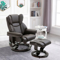 Massage Sofa Recliner Chair with Footrest 10 Vibration Point Faux PU Leather,