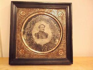 CR) Robert E. Lee Framed Photograph on Silk WH Tucker Kayess
