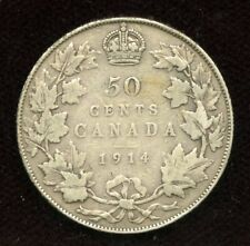 1914 Canada Fifty Cents - VG Condition Canadian Half Dollar