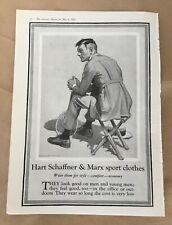 Hart Schaffner & Marx print ad 1922 vintage illus retro art sport clothes men's