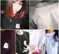 Unisex Mens Womens Lord Nermal Pocket Cat T-Shirt RIPNDIP Tops Tee Shirt Blouse