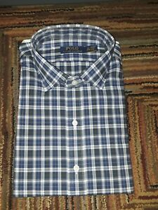 NWT POLO RALPH LAUREN MEN OXFORD LONG SLEEVE BUTTON UP PLAID GREEN NAVY RED