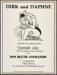DRAGON'S LAIR__Original 1983 Trade Print AD / poster__DON BLUTH ANIMATION__Dirk