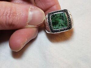 John Hardy Men's Sterling Silver Jade Black Sapphire Ring Sz 10 Ret. $895