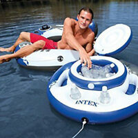 Floating Inflatable Cooler Drink Holder Lid Pool River Lake Toy Float Raft Party