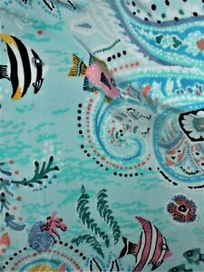 Vera Bradley Double Sided Beach Towel in PAISLEY WAVE with Fish. Sealed in Pkg.