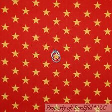 BonEful Fabric Cotton Quilt Red Gold American STAR USA Super Hero Stripe L SCRAP