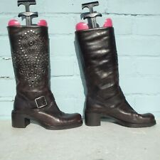 Patrick Cox Leather Boots Size Uk 3.5 Eur 36.5 Sexy Womens Brown Pull on Studs