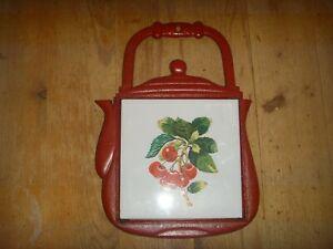 Rustic Red Cast Iron Teapot Trivet with Cherry Tile Centre