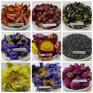 Edible Dried Flowers Loose Herbal Tea Cooking Coctail Bath Bomb Soap 60 Types