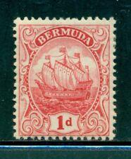 BERMUDA 42a SG46b MH 1919 1p carmine Caravel Wmk Mult Crown CA Type II Cat$68