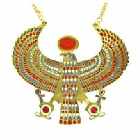 Winged HORUS Necklace Cleopatra Egyptian GODDESS Gold Metal Costume Jewelry