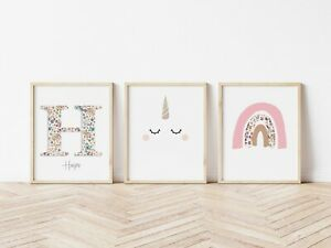 Personalised Kids Girls Bedroom Prints Wall Art Scandi Unicorn Rainbow Room A4