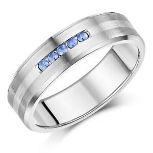 7mm Men's Sapphire Engagement Ring Titanium & Silver Wedding Ring .15ct