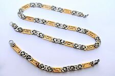 MEN'S Two Tone  Byzantine Stainless Steel Necklace Bracelet SET