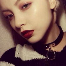 Vintage Women Gothic Punk Leather Neck Ring Collar Choker Charm Necklace Black