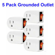 (5 Pack) Grounded Outlet Adapter Wall Tap Adapter W/Red Indicator On/Off Switch