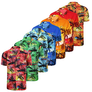 Mens Hawaiian Shirt Palm Tree Surf Stag Holiday Floral Beach Summer Fancy Party