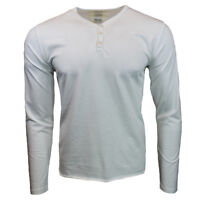 Henley Shirt Mens Long Sleeve Button Thermal Slim Fit Pullover WHITE NEW