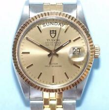 Rolex Tudor Oyster Prince Date-Day 18K Gold Bezel Watch ref. 94613 - Nice Ex+!
