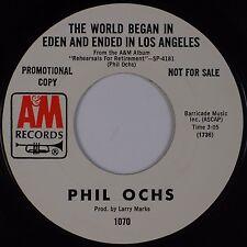 PHIL OCHS: My Life / The World Began In Eden A&M Folk DJ PROMO '69 45 NM-