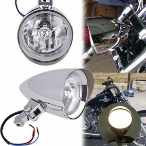 """4.5"""" Chrome Visor Bullet Headlight Lamp For Harley Chopper Bobber CVO Motorcycle"""