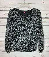 Vince Camuto Women's S Small Black Gray Cute Long Sleeve Winter Top Blouse Shirt