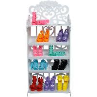 1 Weiß Schuhkarton Möbel + 10 Paar Hochwertig Schuhe Sandalen Für Barbie Puppe