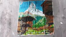Vintage Midcentury Swiss Kreier Graphic Handkerchief – Alps Matterhorn