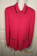 St. John Collection by Marie Gray Magenta Jacket, 8, Zipper, long sleeves, trim