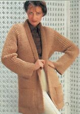 """Ladies Easy Knit Chunky Jacket Knitting Pattern with Pockets 32-40"""" 1121"""
