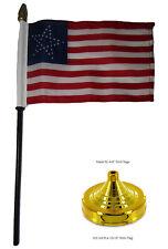 "35 Great Star USA American 4""x6"" Flag Desk Set Table Wood Stick Staff Gold Base"