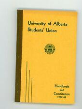 1947-1957 University of Alberta Students Union Handbook & Constitution vintage