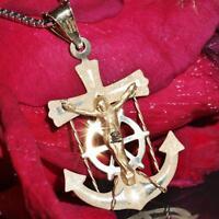 "14k yellow gold Jesus anchor pendant 1.30"" diamond cut charm vintage 1.1gr"