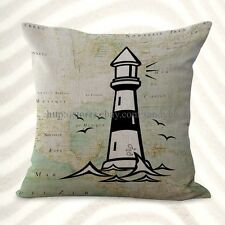 Us Seller- world map lighthouse seaside cushion cover home decor throw pillows