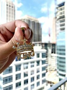 14K Gold Plated Hip Hop Stainless Steel CZ ICED KING CROWN Pendant w/ Chain