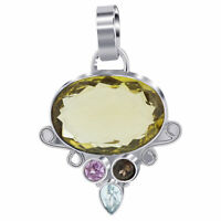 925 Sterling Silver Genuine Oval Cut Citrine Bali Pendant with Accentuating Gems