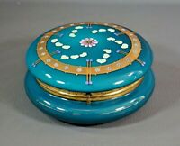 Victorian Moser Painted Enamel Gold Turquoise Glass Vanity Large Dresser Box Lid
