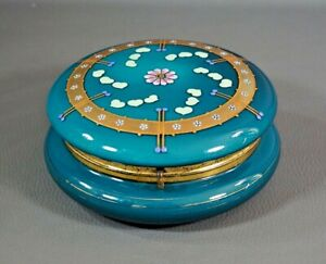 Victorian Moser Painted Enamel Gold Turquoise Glass Jewelry Trinket Box Vanity