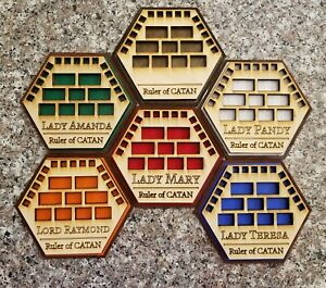 New Settlers of Catan Game Piece Holders, Set Of 6 Custom NAME and COLORS