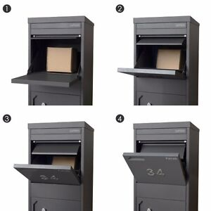 Milkcan PARCEL DROPBOX Letterbox MONUMENT CHARCOAL + LETTER COMPARTMENT Mailbox