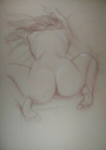 nude female bent over in sanguine and white chalk on buff paper size A3