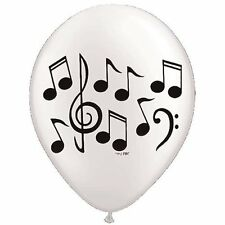 """Quantity 10 White Black Music Note Latex 11"""" Balloon Party Decorating Supplies"""