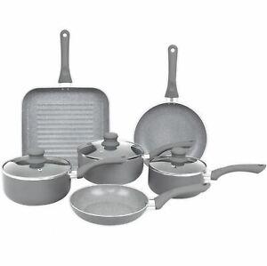 Aluminium 9 Pc Grey Marble Non Stick Pan Set Induction Frying Grill Saucepan Pot