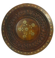 Side Table Carved with brass inserts Made of Sheesham - CA 31 x 32 cm