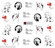 NAIL Art Water Trasferimenti Adesivi Nail Art Marilyn Monroe CUORI SMALTO GEL a482